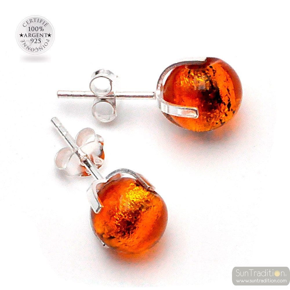AMBER STUD EARRINGS IN GENUINE MURANO GLASS FROM VENICE