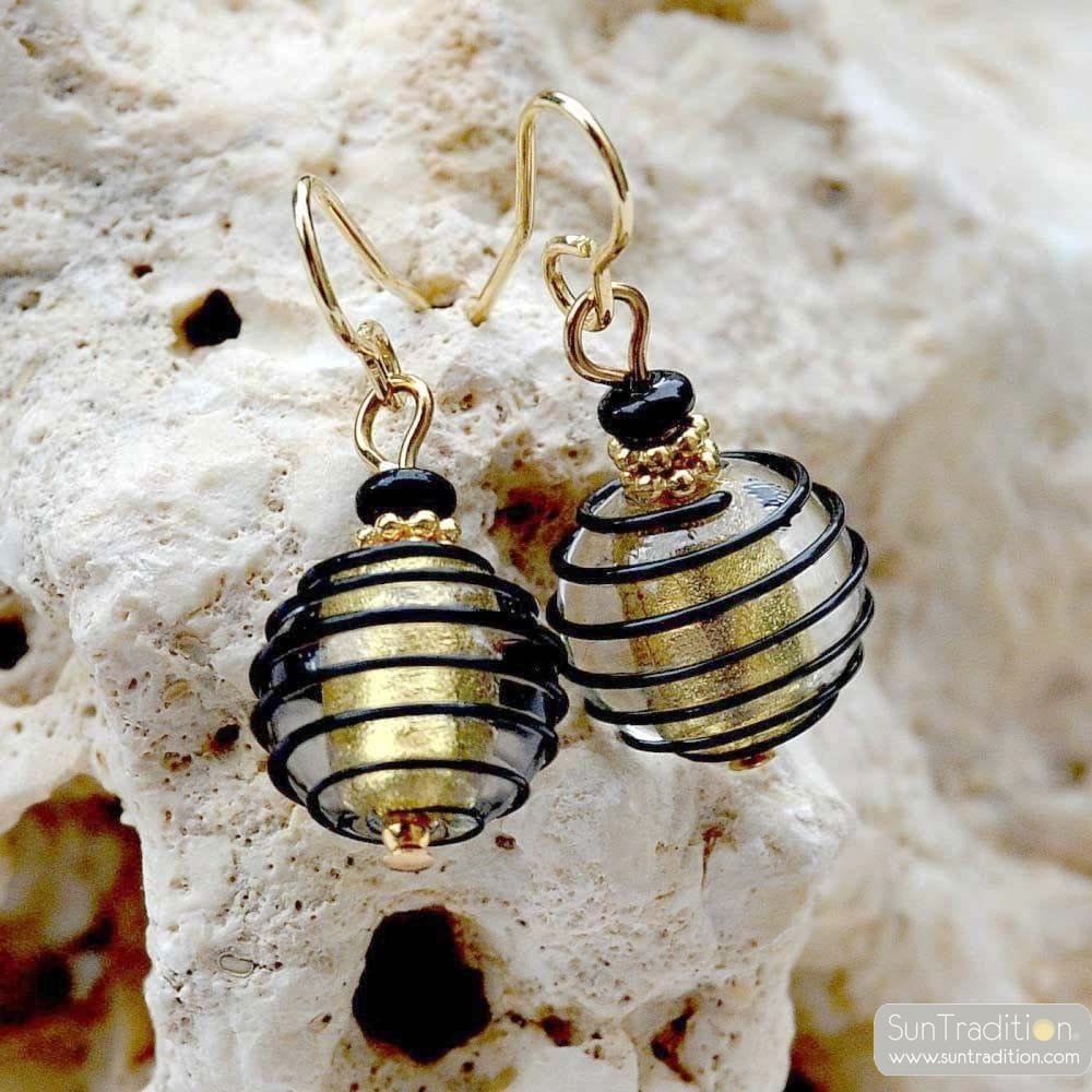 JOJO BLACK AND GOLD - BLACK AND GOLD MURANO GLASS EARRINGS GENUINE VENICE GLASS