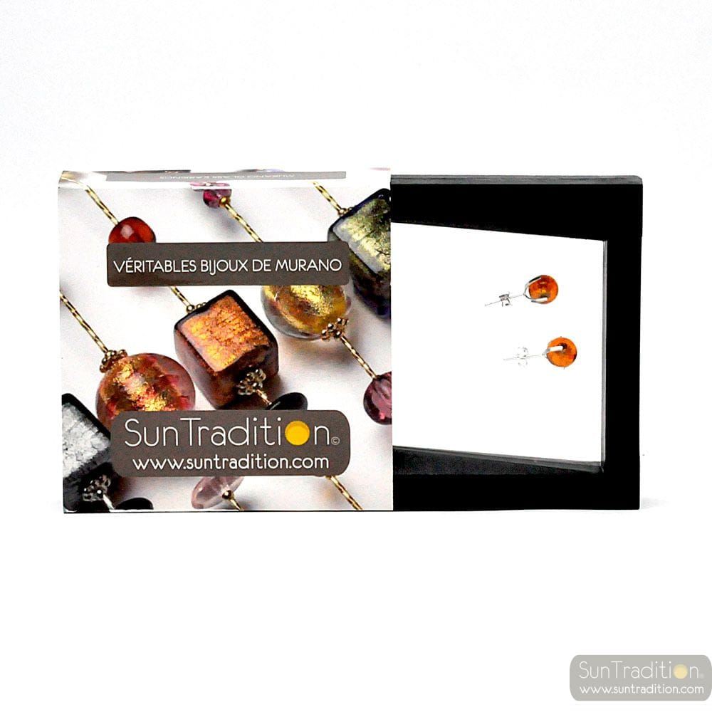 AMBER STUD EARRINGS IN GENUINE MURANO GLASS FROM VENICE