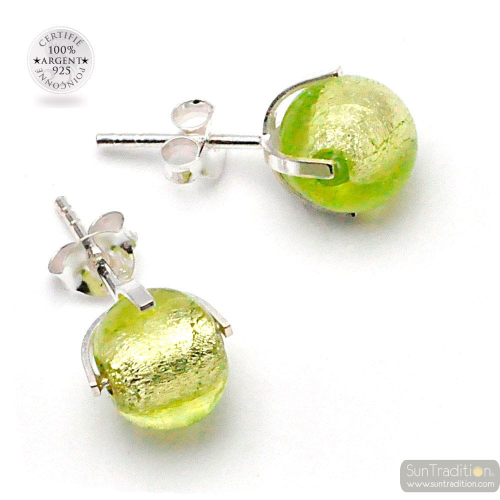 ANISE GREEN GENUINE MURANO GLASS STUD EARRINGS FROM VENICE