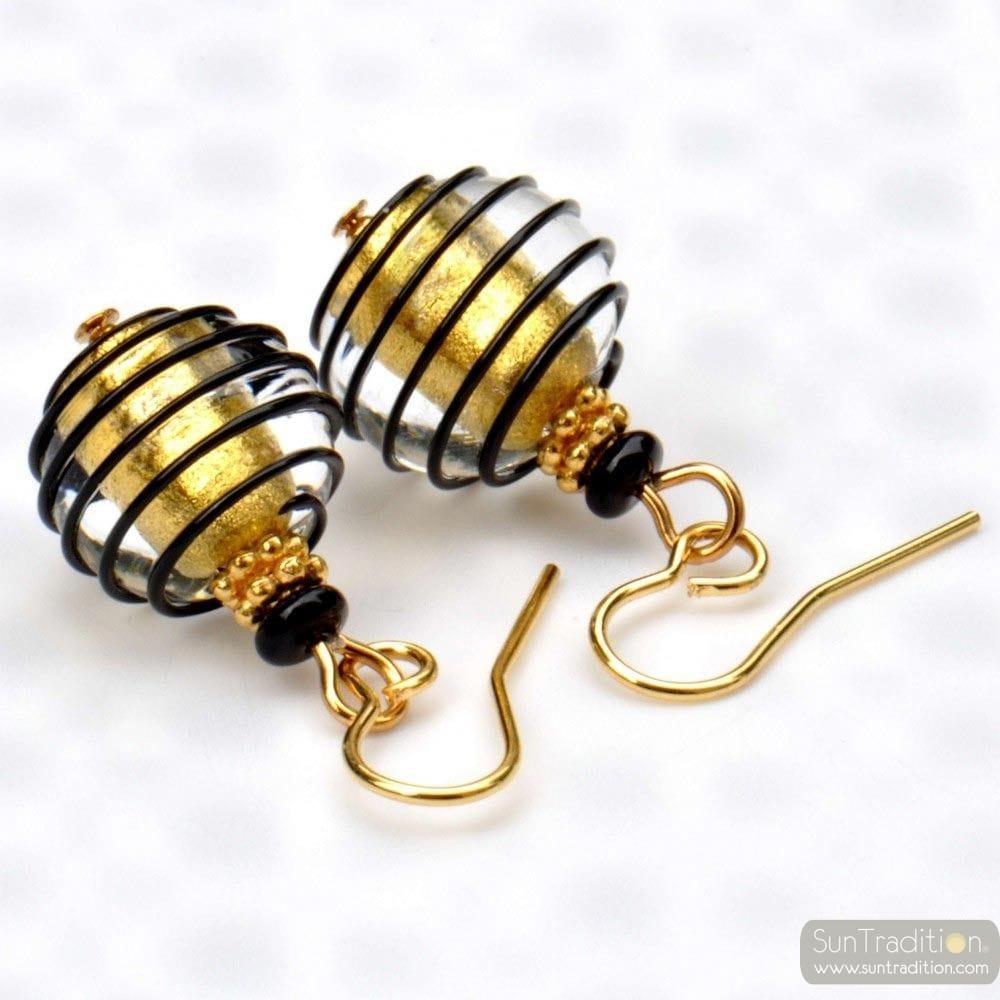BLACK AND GOLD MURANO GLASS EARRINGS GENUINE MURANO GLASS VENICE