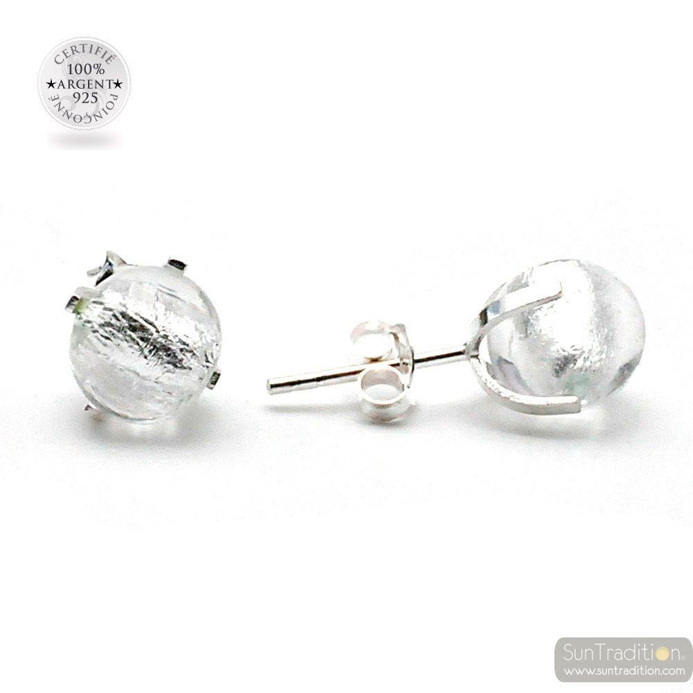 SILVER MURANO GLASS STUD EARRINGS GENUINE FROM VENICE