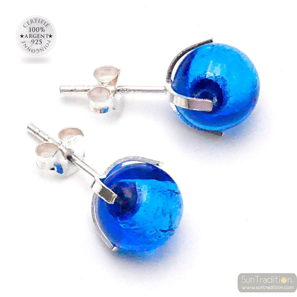 OCEAN BLUE MURANO GLASS STUD EARRINGS GENUINE FROM VENICE