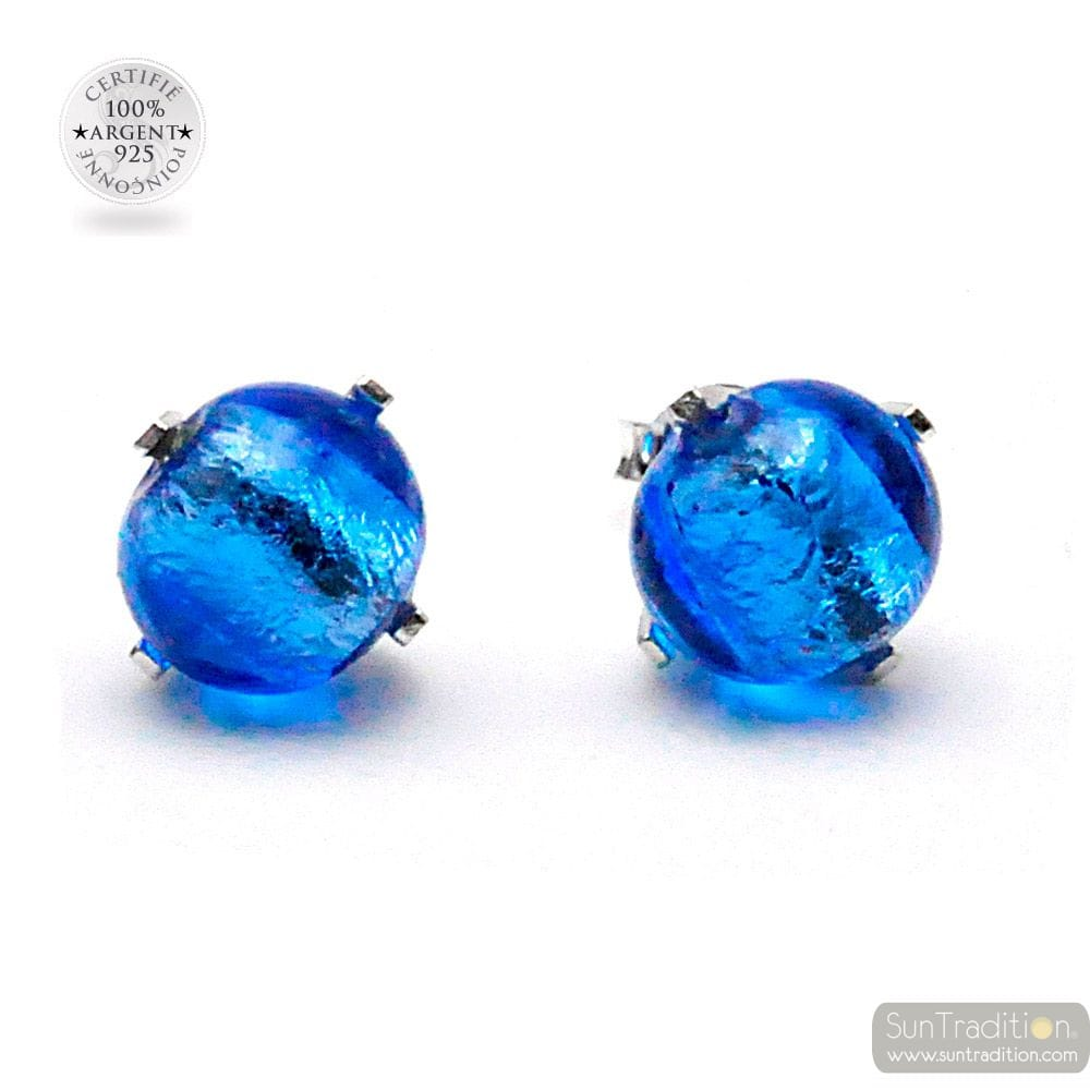 OCEAN BLUE MURANO GLASS STUD EARRINGS GENUINE FROM VENICE