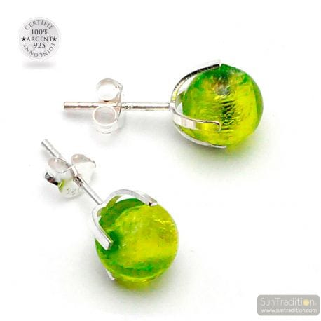 LEMON GREEN GAIA STUD EARRINGS IN REAL VENICE MURANO GLASS
