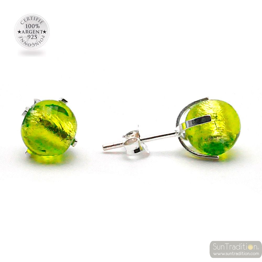 LEMON GREEN GAIA STUD EARRINGS IN REAL VENICE MURANO GLASS