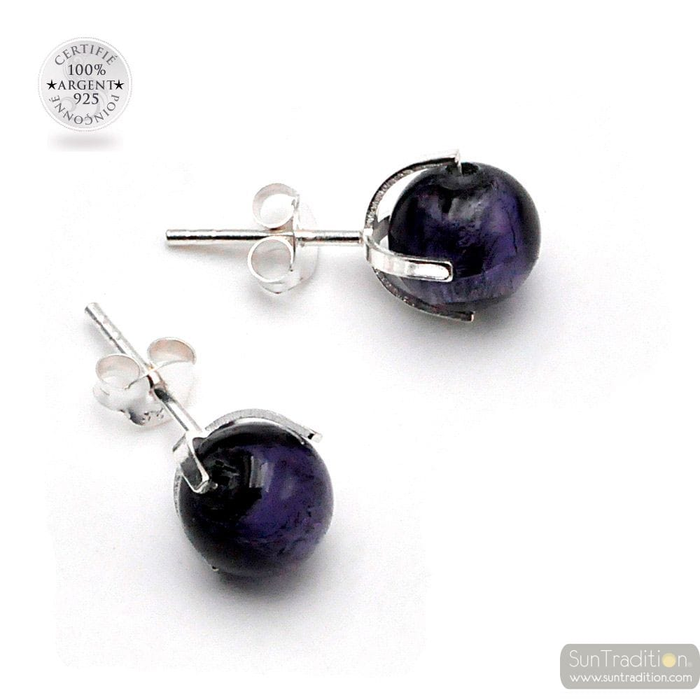 BLUE PURPLE STUD EARRINGS IN GENUINE MURANO GLASS FROM VENICE
