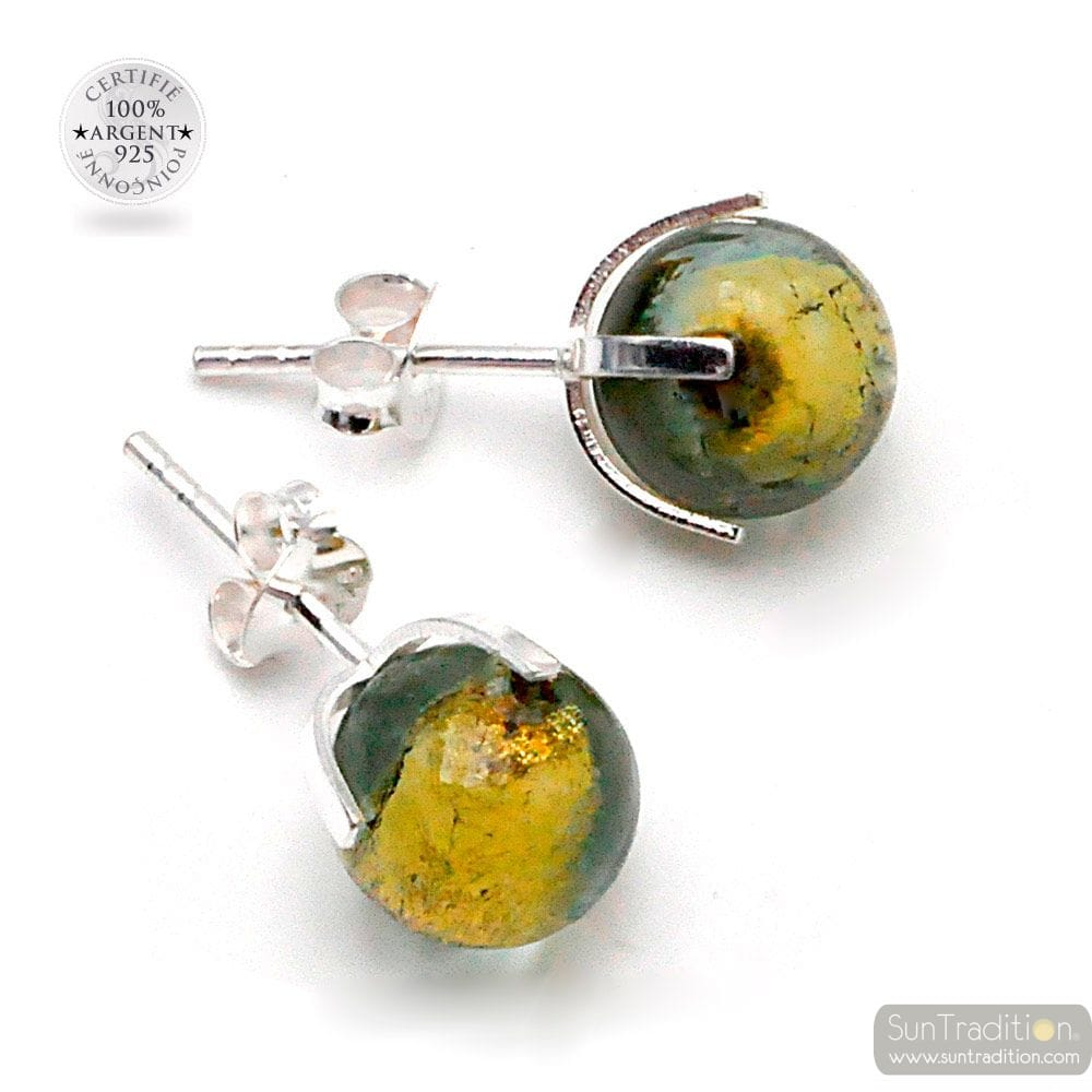 GREEN GRAY STUD EARRINGS IN REAL VENICE MURANO GLASS