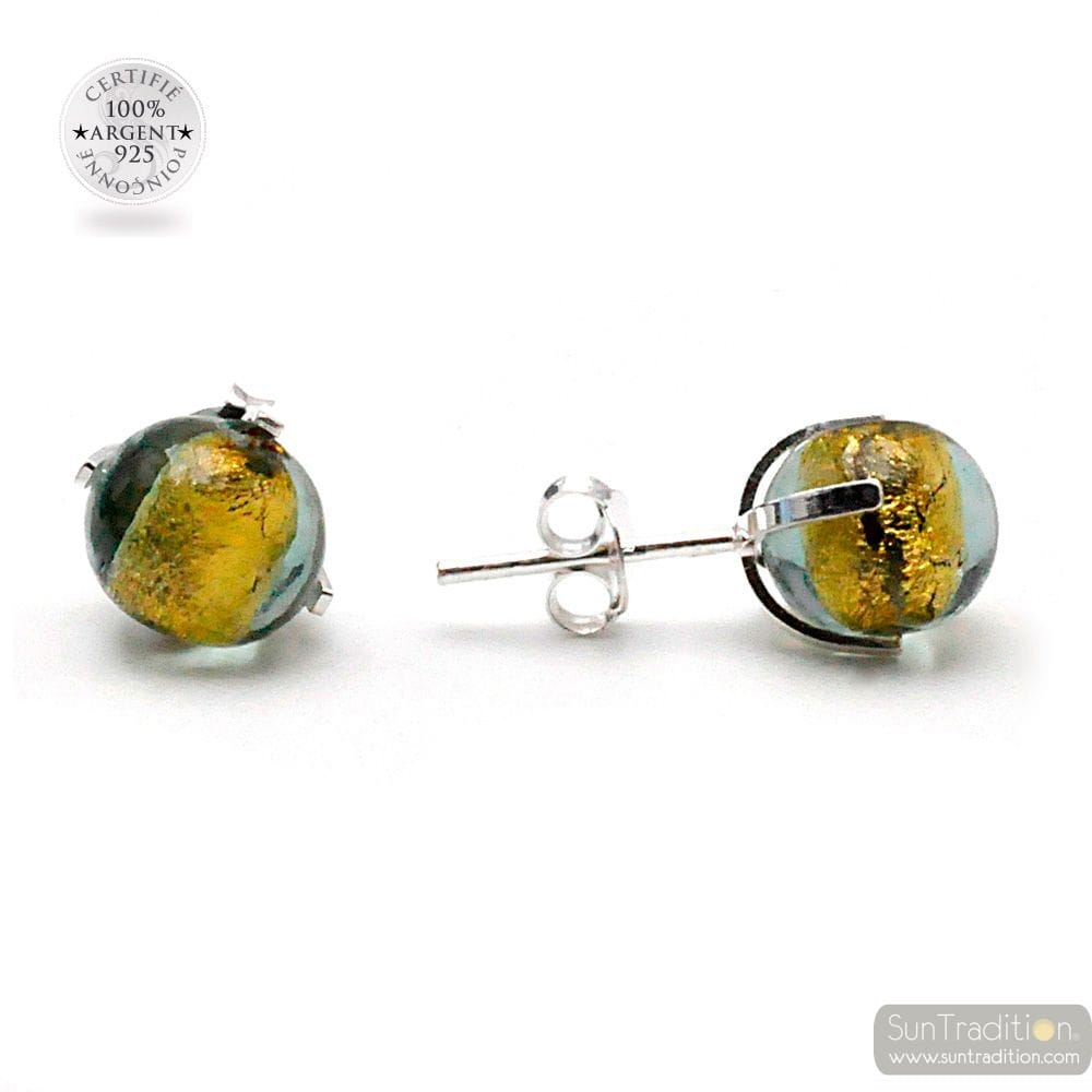 GREEN GRAY STUD EARRINGS IN REAL VENICE MURANO GLASS