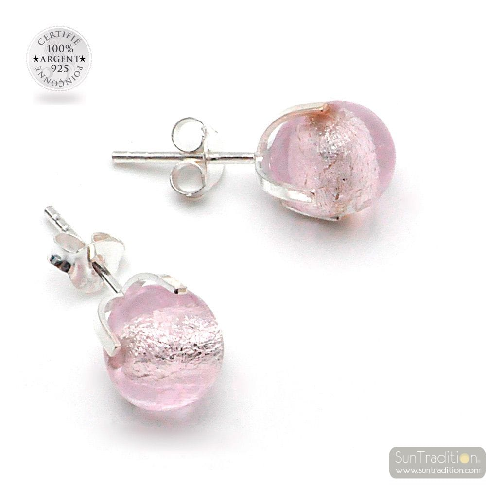 PINK STUD EARRINGS GAIA IN GENUINE MURANO GLASS FROM VENICE