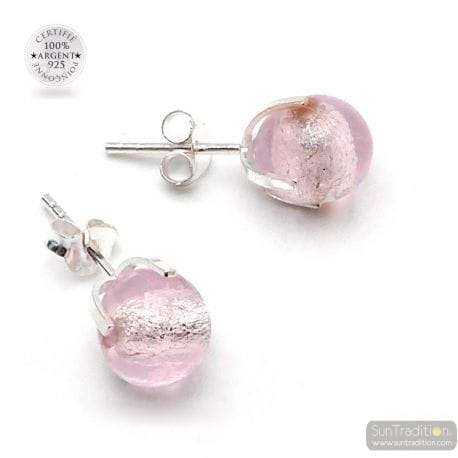 PINK STUD EARRINGS IN GENUINE MURANO GLASS FROM VENICE
