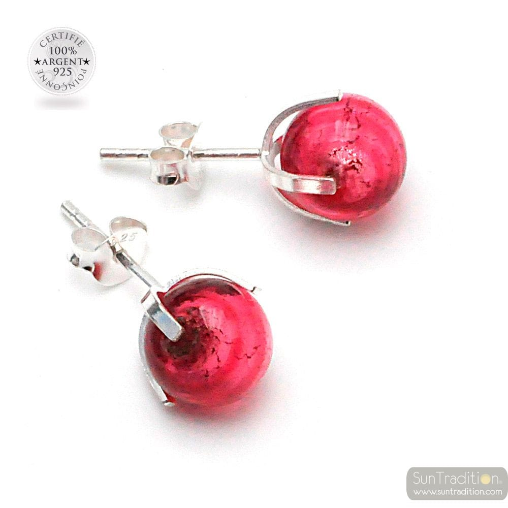 RUBY STUD EARRINGS IN REAL VENICE MURANO GLASS