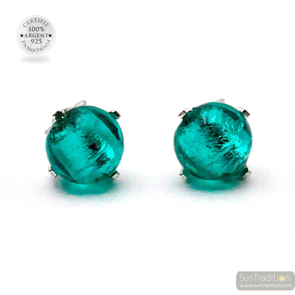 TURQUOISE STUDS EARRINGS IN REAL VENICE MURANO GLASS