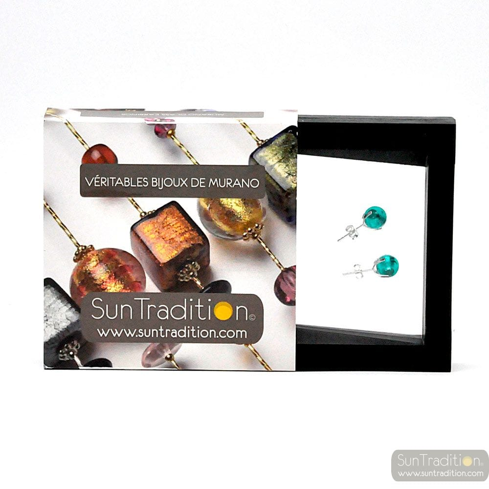 TURQUOISE GAIA STUDS EARRINGS IN REAL VENICE MURANO GLASS