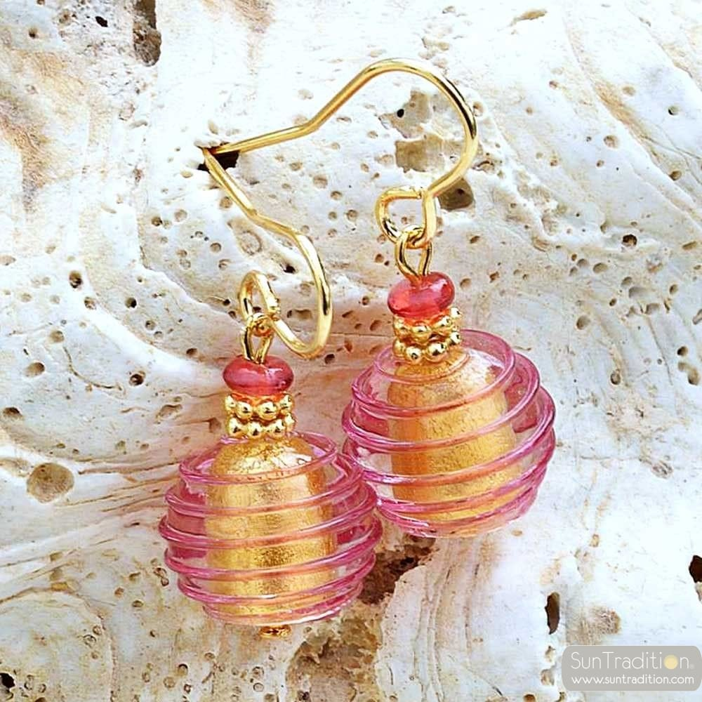 JO-JO PINK AND GOLD EARRINGS GENUINE MURANO GLASS VENICE