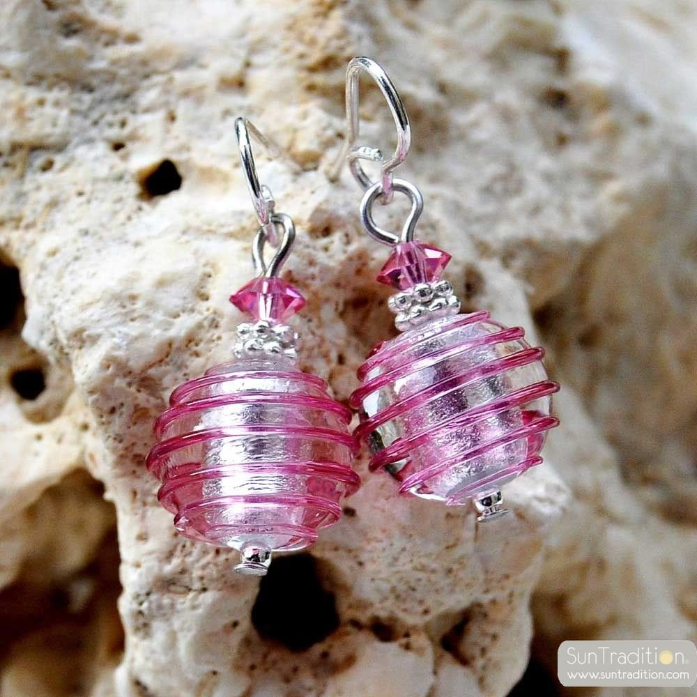 JO-JO PINK AND SILVER EARRINGS GENUINE MURANO GLASS VENICE