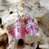 PINK AND SILVER MURANO GLASS EARRINGS GENUINE MURANO GLASS VENICE
