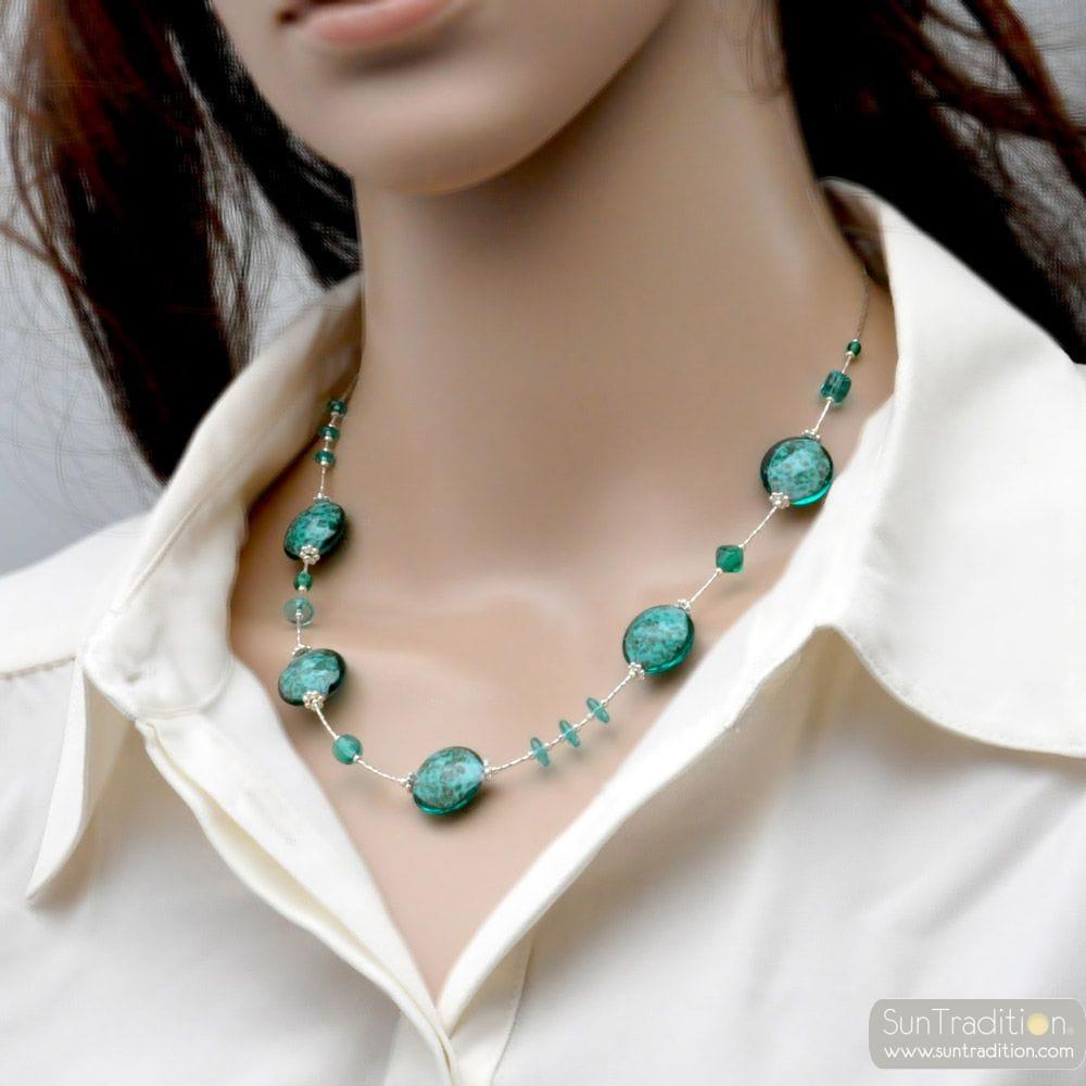 PASTIGLIA AURORA GREEN EMERALD - MURANO GLASS GREEN EMERALD NECKLACE OF VENICE