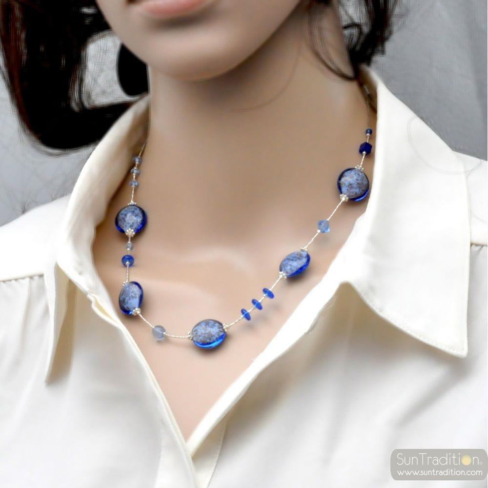 PASTIGLIA AURORA BLUE NAVY - NAVY BLUE MURANO GLASS NECKLACE OF VENICE