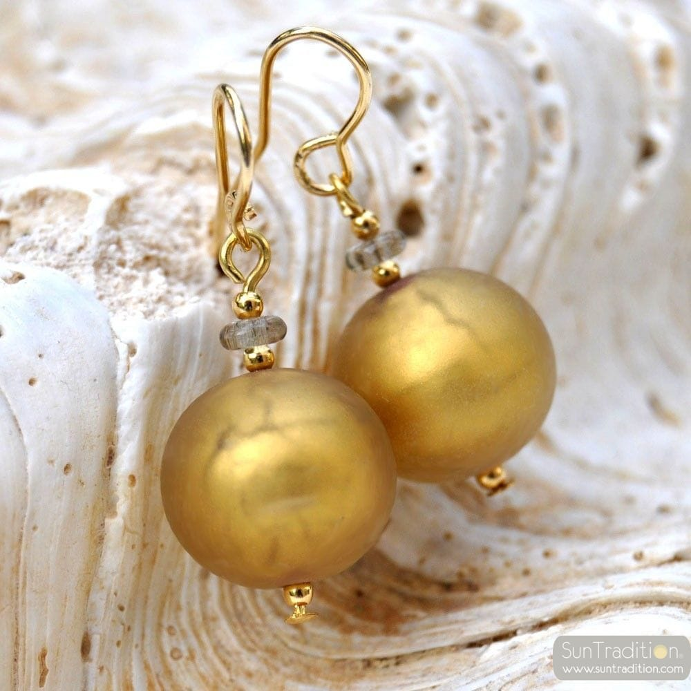 BALL SATIN OR - BOUCLES D'OREILLES BIJOUX EN VERITABLE VERRE DE MURANO DE VENISE