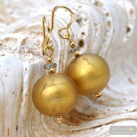 SATIN GOLD VENETIAN GLASS EARRINGS GENUINE VENICE MURANO GLASS