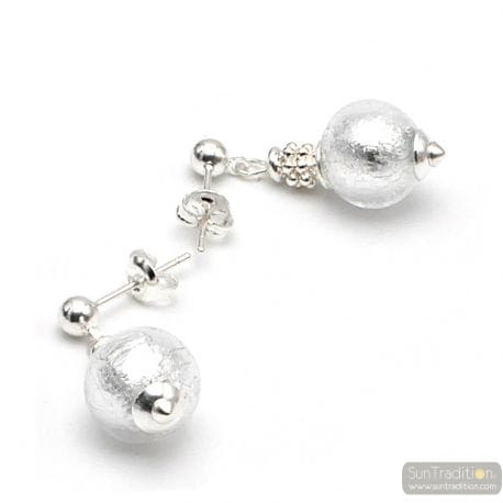 STUDDED SILVER EARRINGS IN GENUINE MURANO GLASS FROM VENICE
