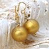 SATIN GOLD MURANO GLASS EARRINGS GENUINE VENICE MURANO GLASS