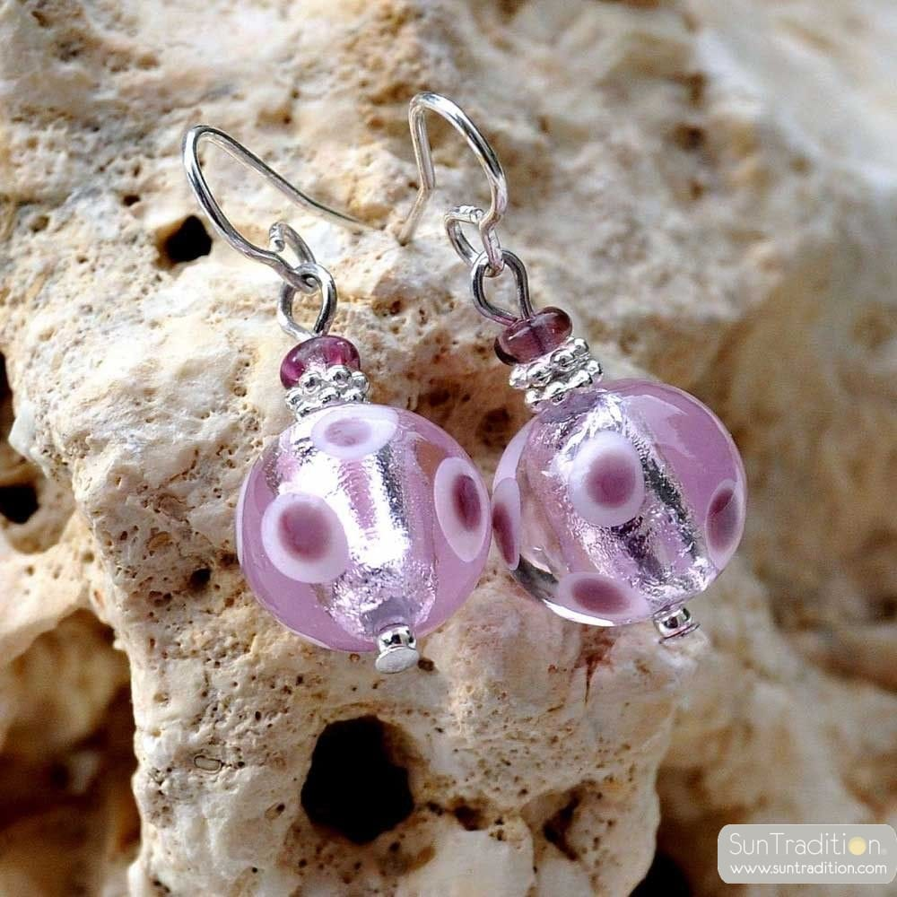 GALAXY LILAC EARRINGS GENUINE MURANO GLASS VENICE