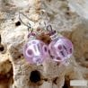LILAC MURANO GLASS EARRINGS GENUINE MURANO GLASS VENICE