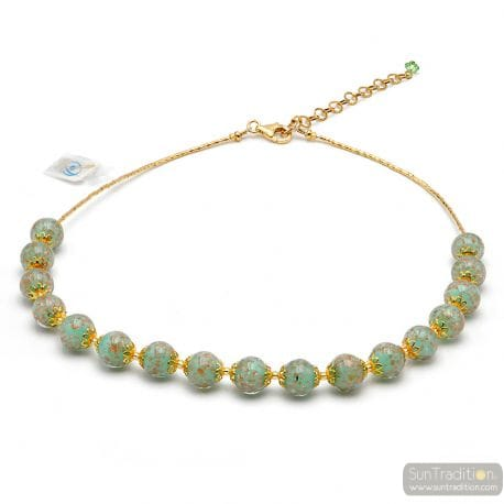GREEN MURANO GLASS OPALINE NECKLACE FROM VENICE
