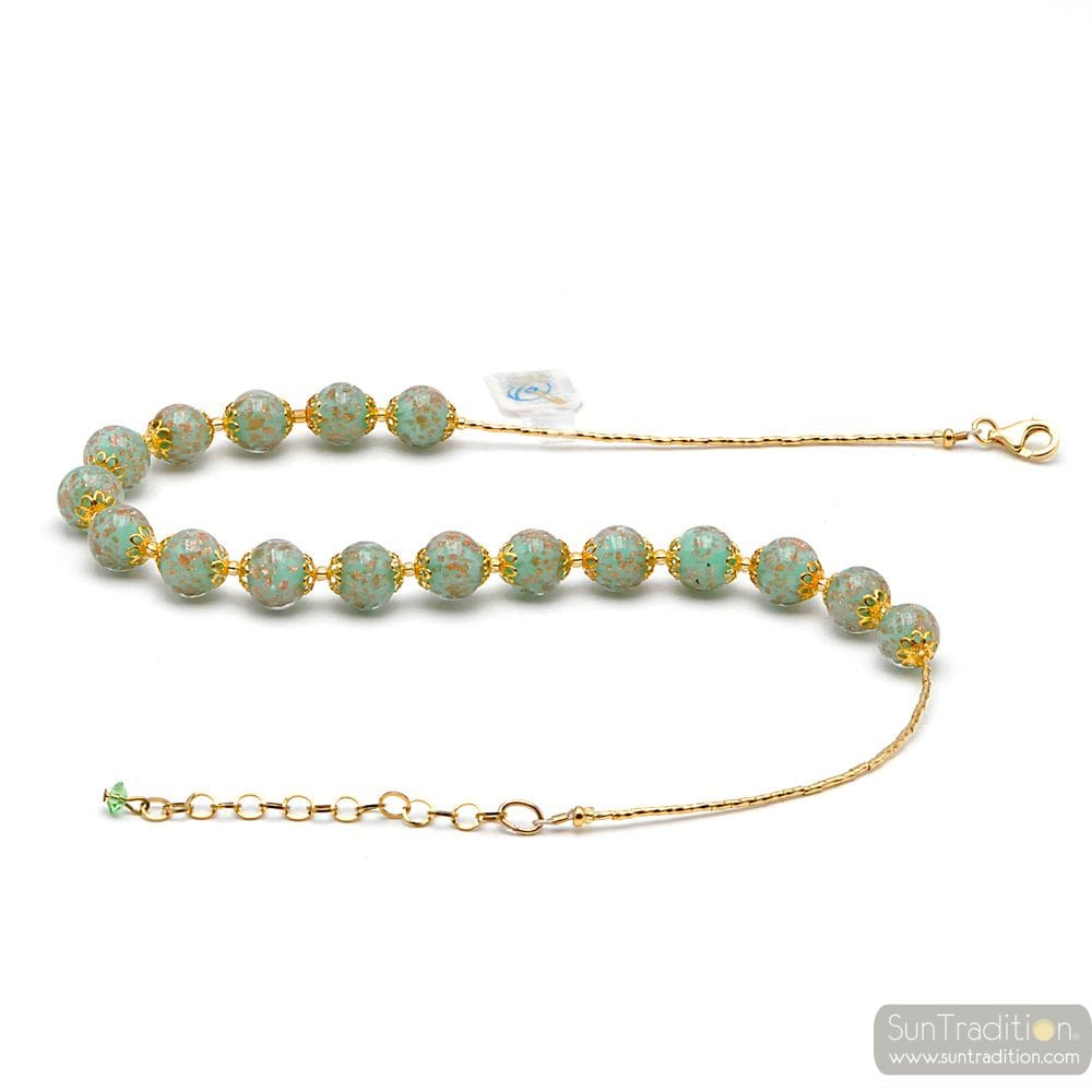 GREEN OPALINE MURANO GLASS NECKLACE