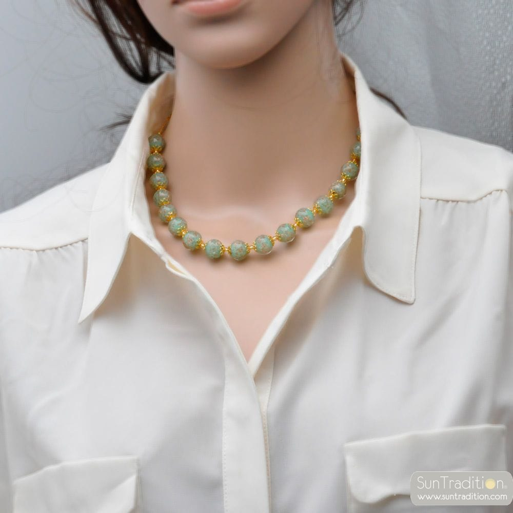 GREEN OPALINE NECKLACE IN GENUINE MURANO GLASS FROM VENICE
