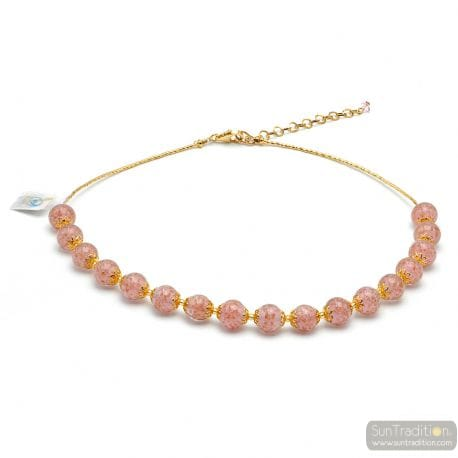 PINK MURANO GLASS OPALINE NECKLACE FROM VENICE