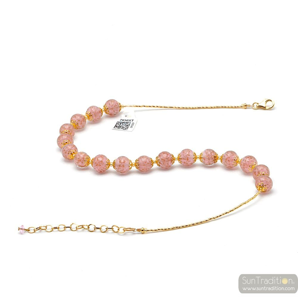 PINK OPALINE MURANO GLASS NECKLACE FROM VENICE