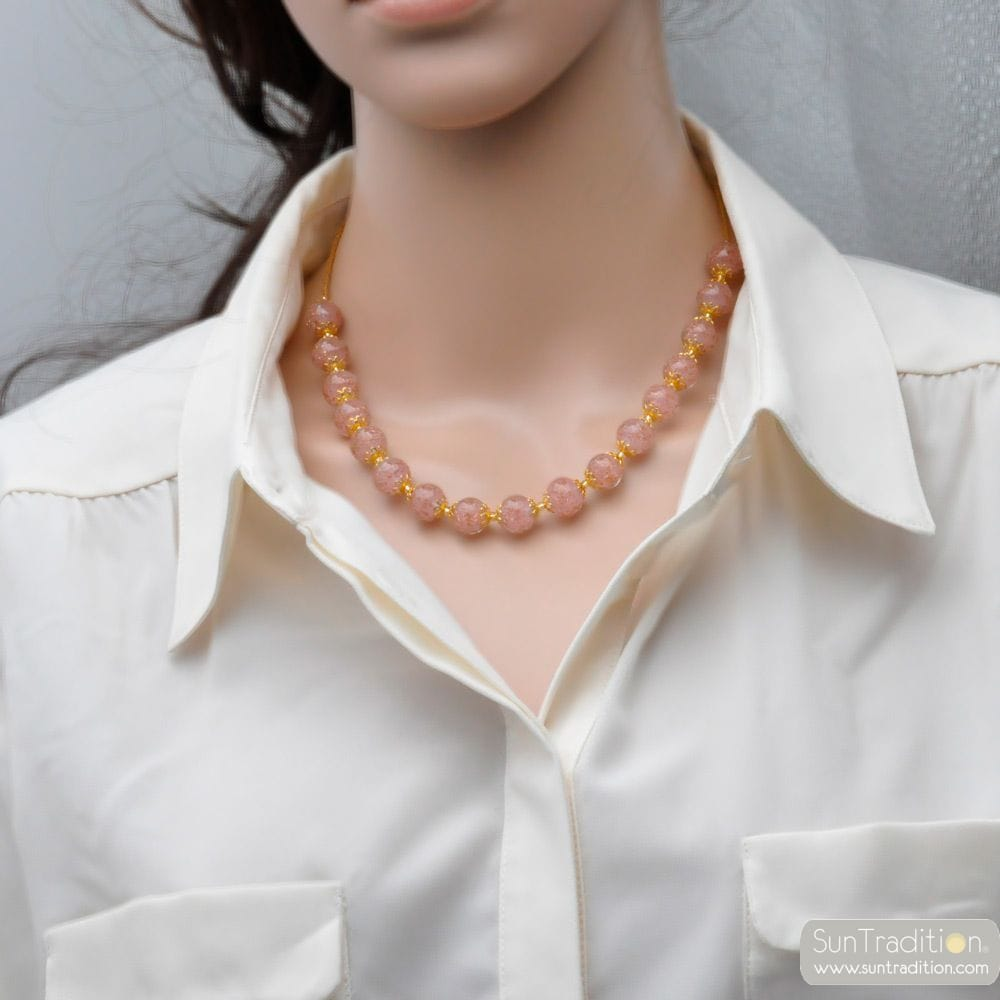 PINK OPALINE NECKLACE IN GENUINE MURANO GLASS FROM VENICE