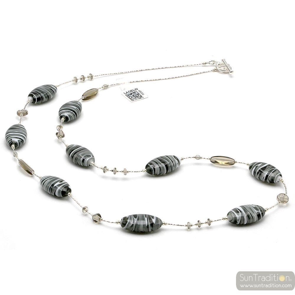 GRAY NECKLACE IN GENUINE GLASS FROM VENICE