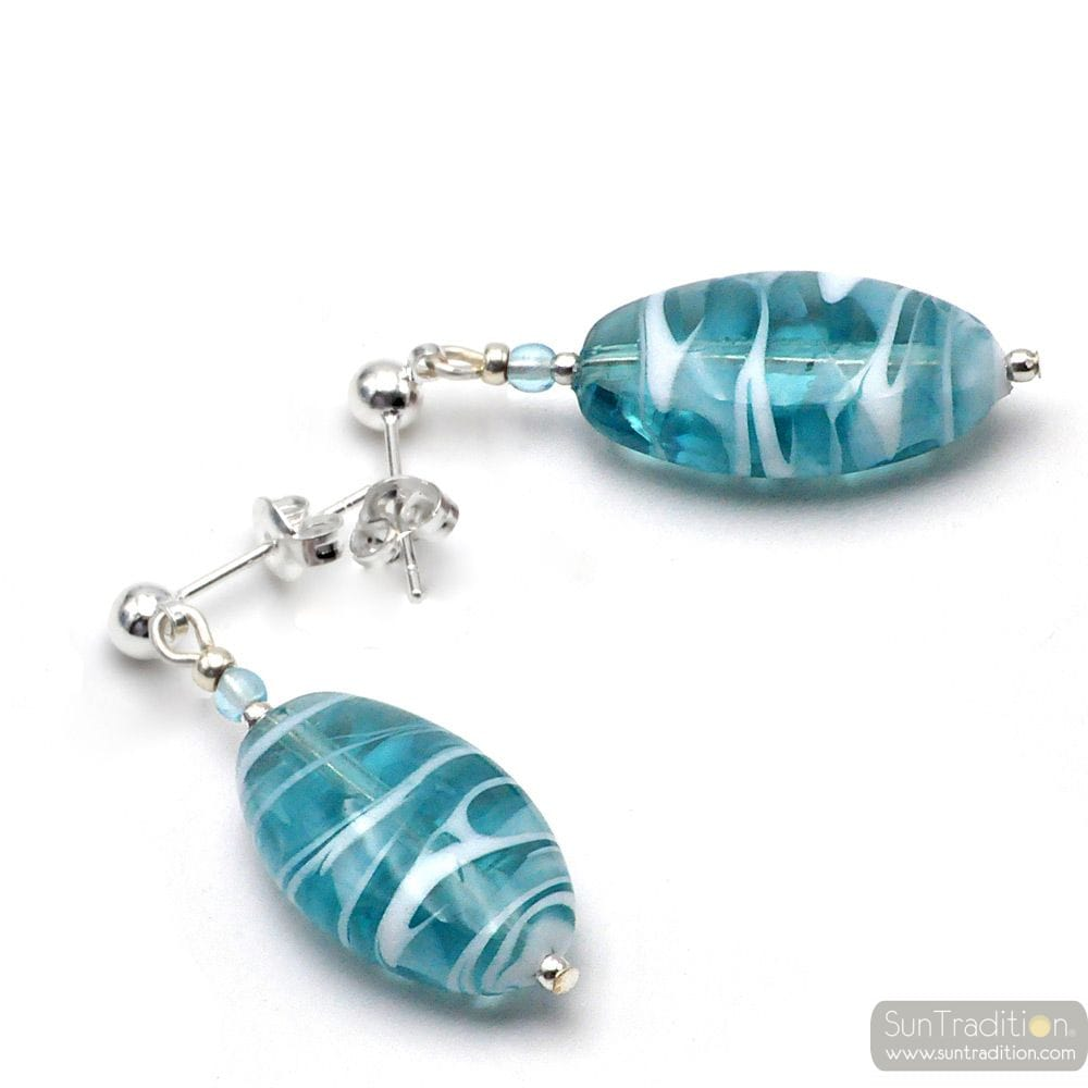 TURQUOISE MURANO GLASS EARRINGS STUDS SILVER GENUINE FROM VENICE