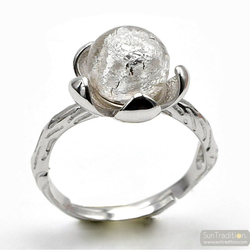 STERLING SILVER FLOWER AND SILVER PEARL RING IN MURANO GLASS