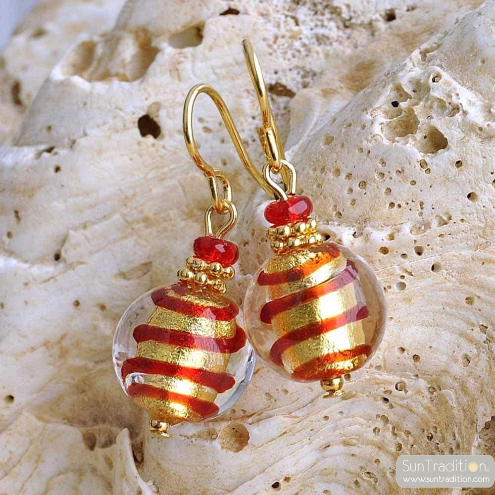 MIX RED AND GOLD EARRINGS GENUINE MURANO GLASS