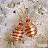 RED MURANO GLASS EARRINGS GENUINE MURANO GLASS