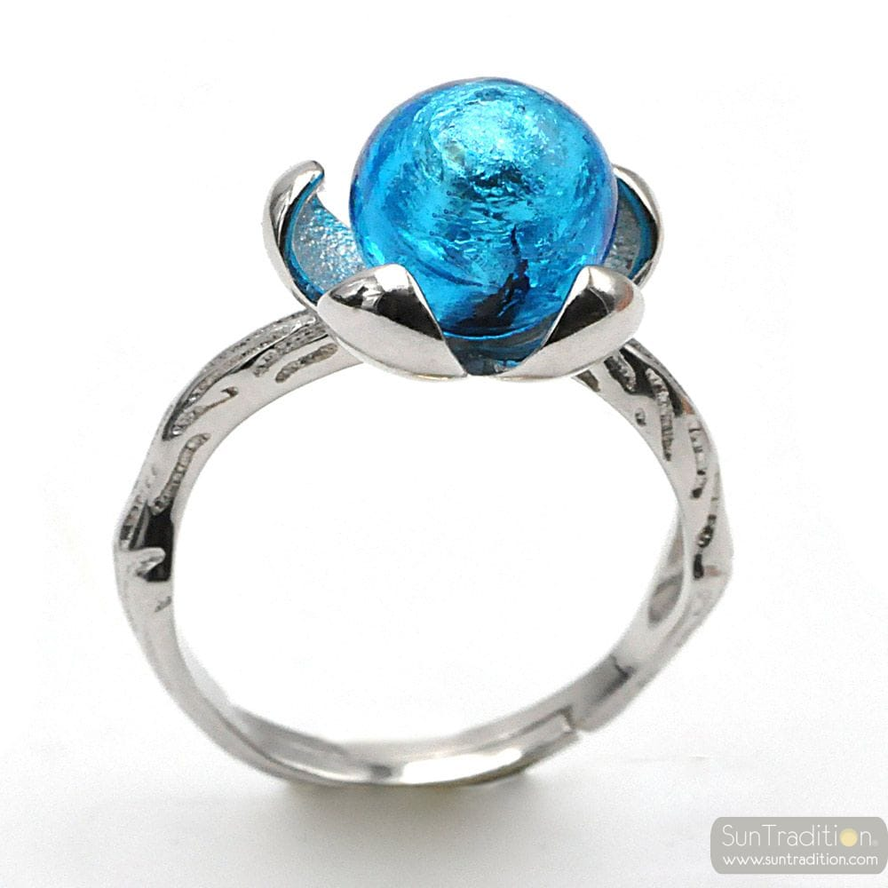 SILVER FLOWER RING WITH LIGHT BLUE PEARL IN MURANO GLASS