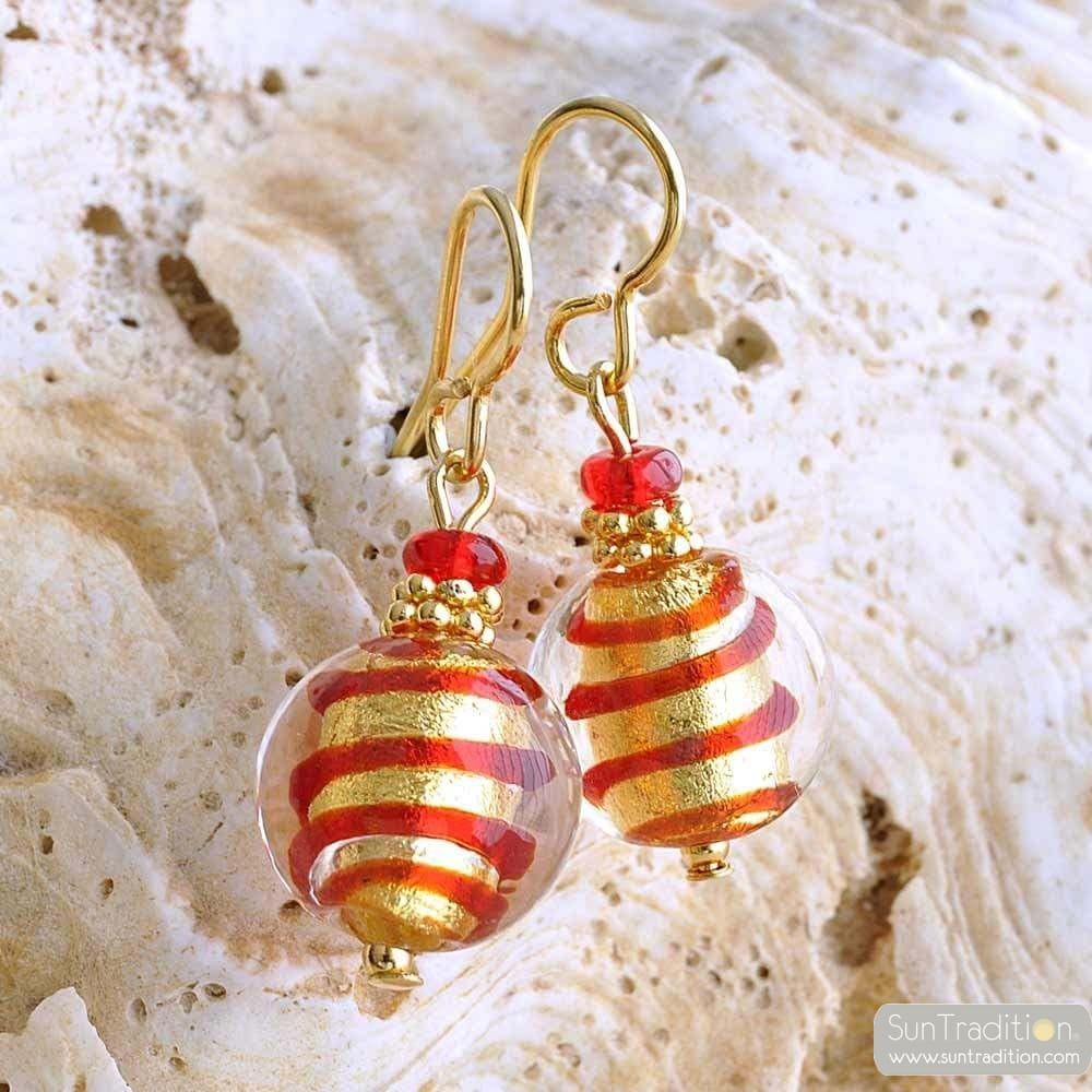 RED AND GOLD MURANO GLASS EARRINGS GENUINE MURANO GLASS