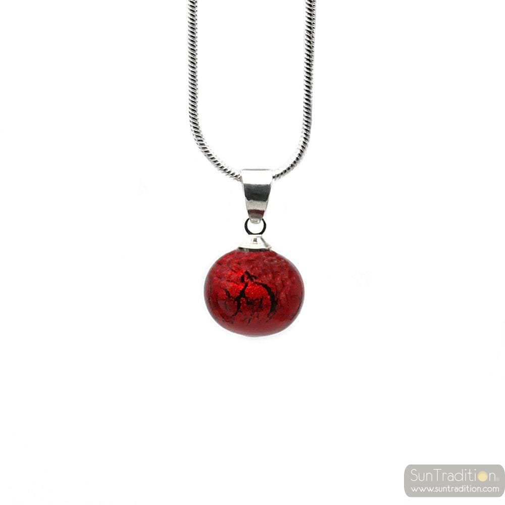 PENDANT RED GLASS BEADS AND NECKLACE SILVER 925