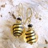 GOLD VENETIAN GLASS EARRINGS GENUINE MURANO GLASS