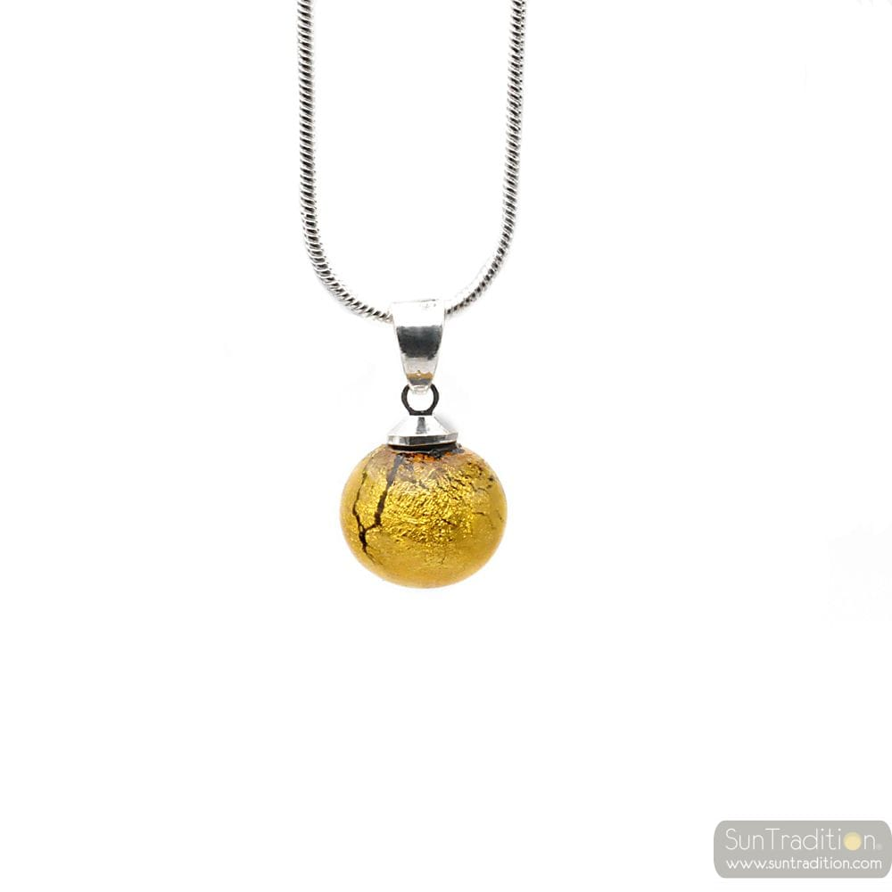 PENDANT GLASS BEADS GOLD AND NECKLACE SILVER 925
