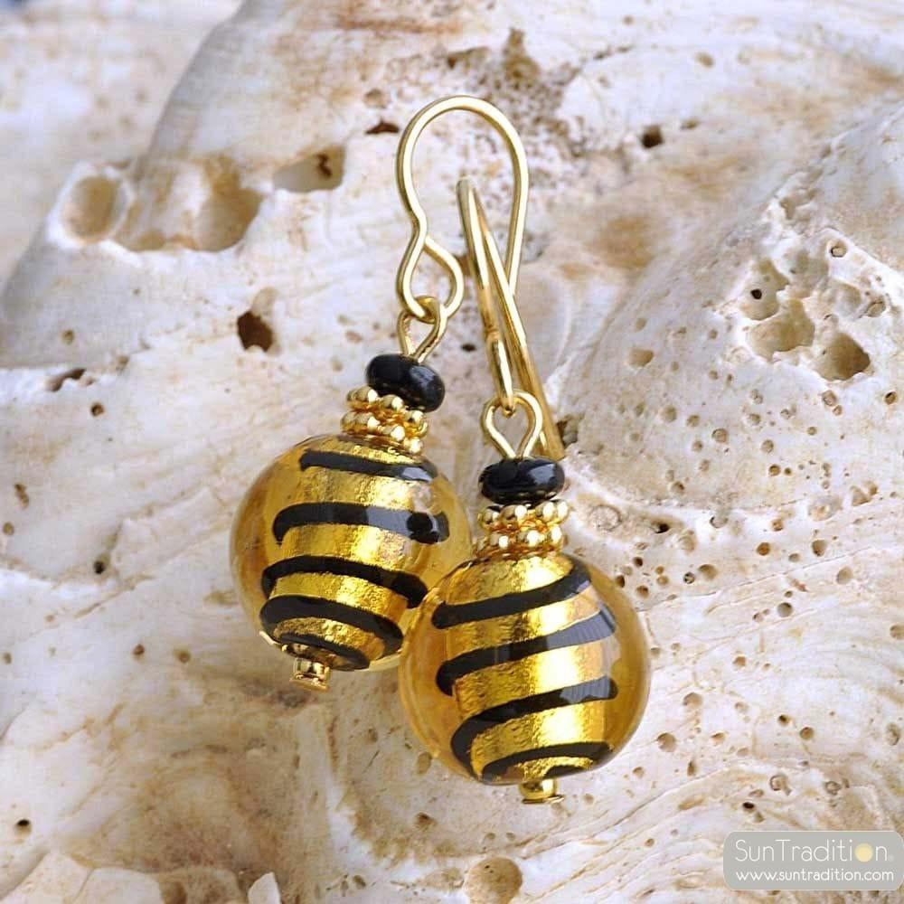 GOLD MURANO GLASS EARRINGS GENUINE MURANO GLASS
