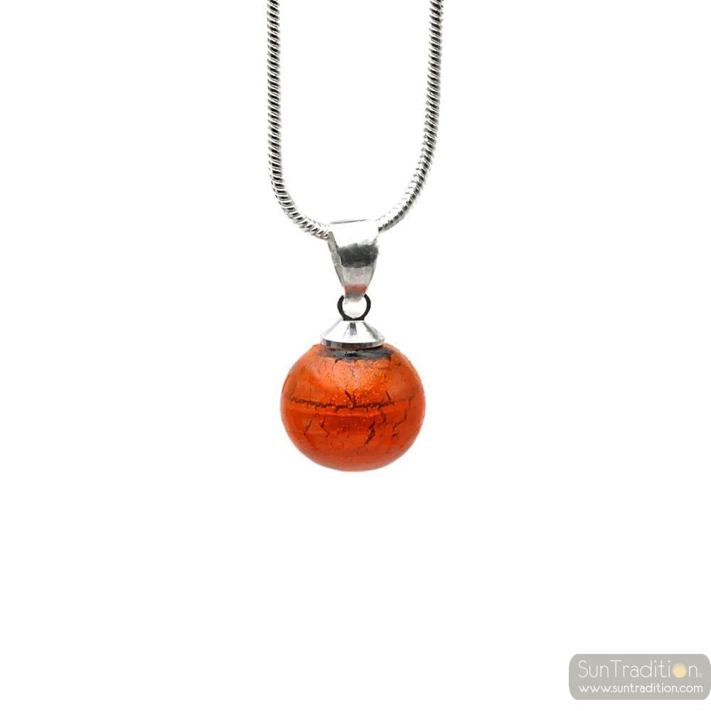 PENDANT ORANGE GLASS BEADS AND NECKLACE SILVER 925