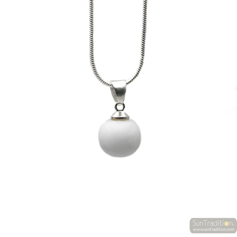 WHITE GLASS BEADS PENDANT AND SILVER NECKLACE 925