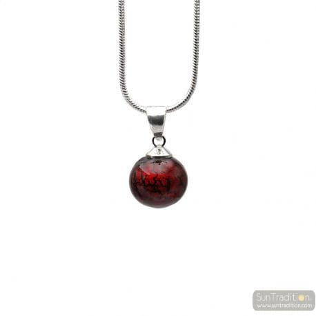 PENDANT DARK RED GLASS BEADS AND SILVER NECKLACE 925