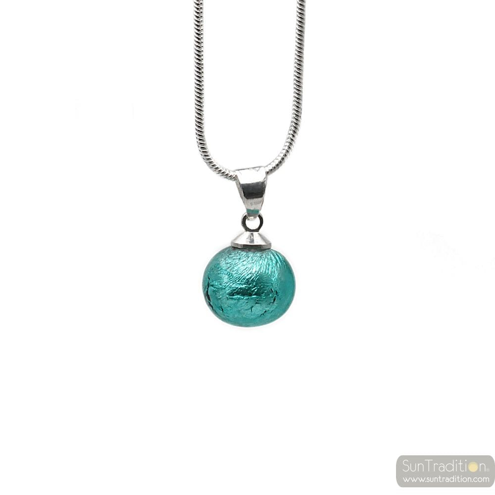 TURQUOISE GLASS BEADS PENDANT AND SILVER NECKLACE 925